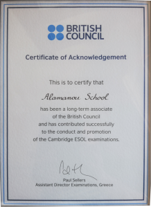 British Council - Certificate of Acknowledgement
